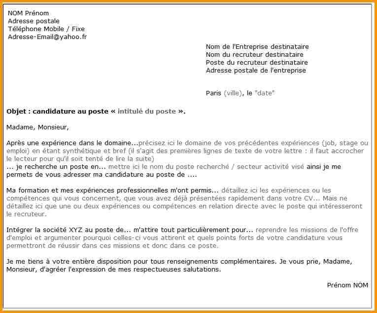 presentation type lettre