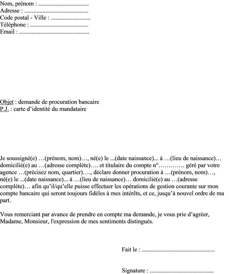 Procuration A Imprimer Modele De Lettre Type