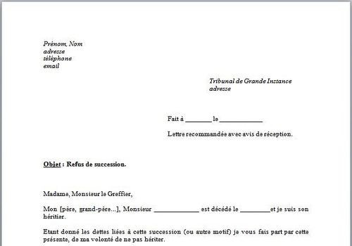 procuration succession lettre type