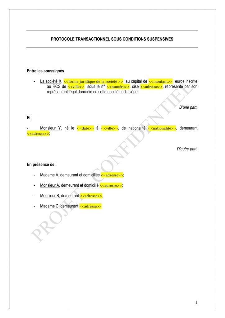 protocole d u0026 39 accord type gratuit