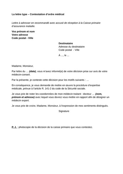 recours amiable cpam lettre