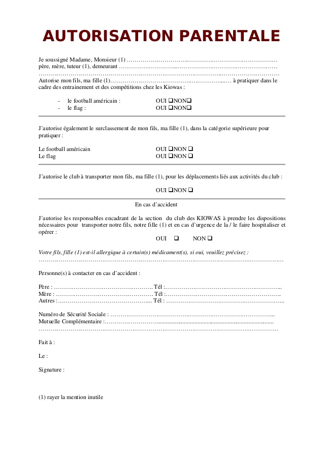 rediger une autorisation parentale - Modele de lettre type