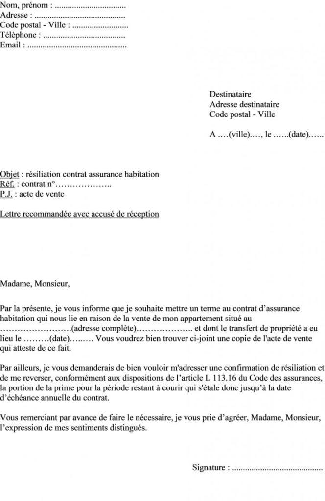 resiliation assurance auto modele - Modele de lettre type
