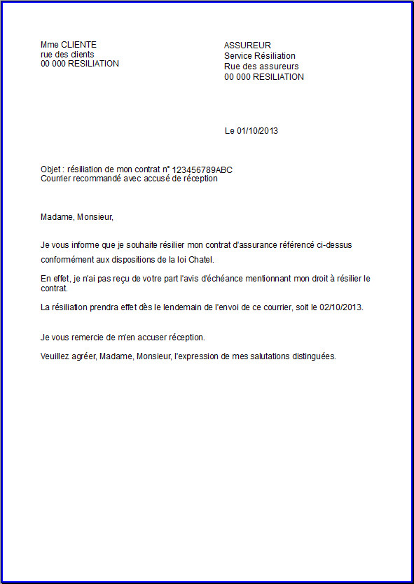 resiliation assurance lettre modele