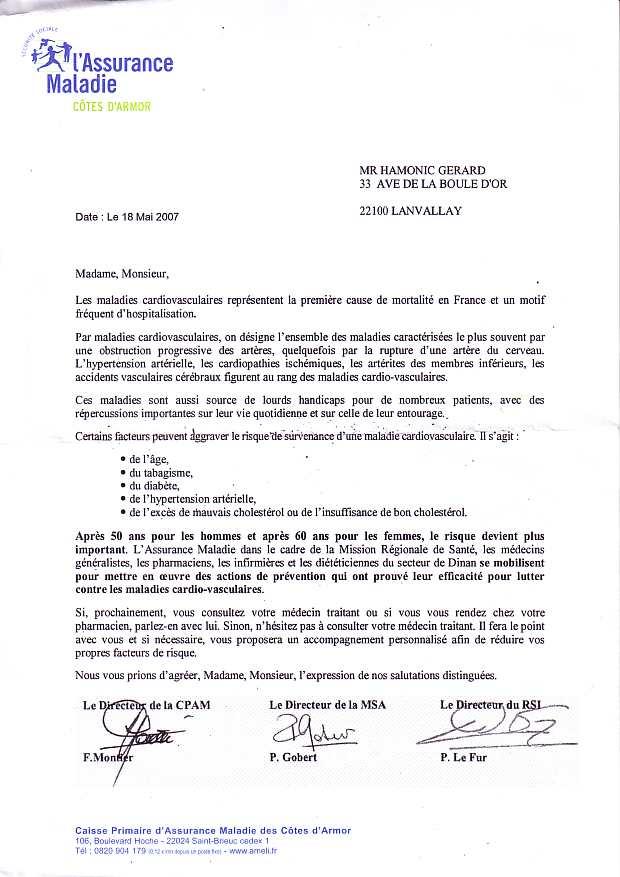 resiliation assurance maladie lettre