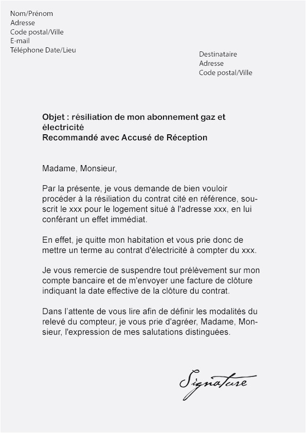 resiliation assurance vie lettre type