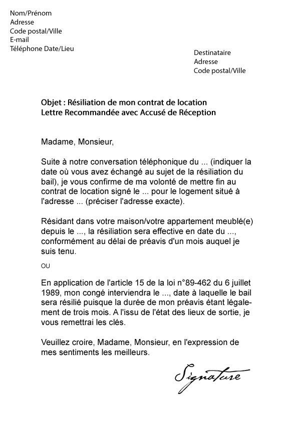 resiliation bail lettre modele