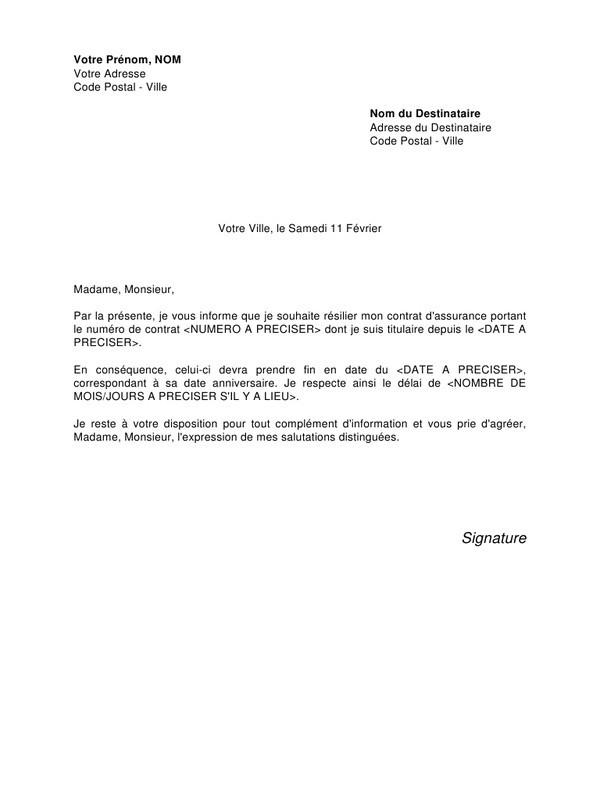 resiliation contrat assurance lettre