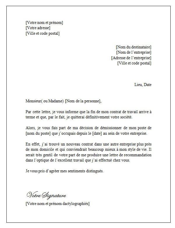 Resiliation Contrat Nourrice Modele Modele De Lettre Type