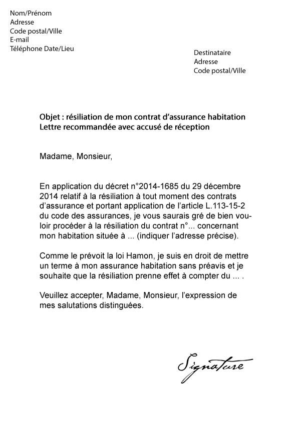 resiliation d u0026 39 assurance lettre