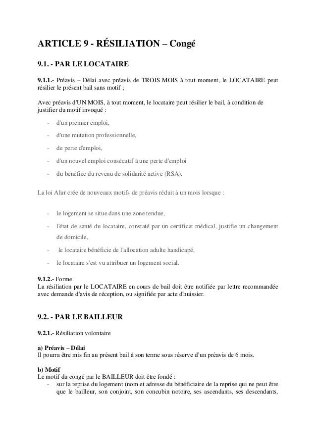 Resiliation De Bail 1 Mois Conditions Modele De Lettre Type