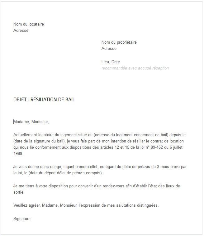 resiliation location meuble lettre type
