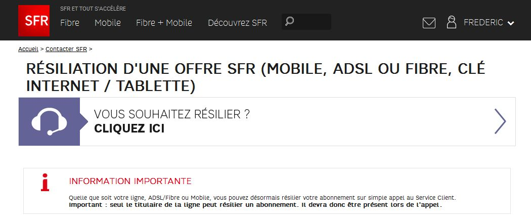 resilier contrat telephone sfr
