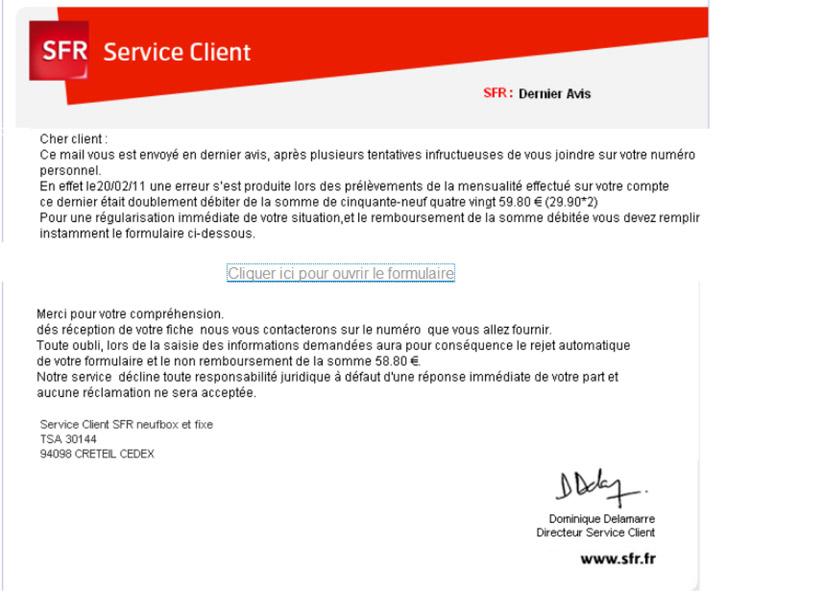 service reclamations sfr