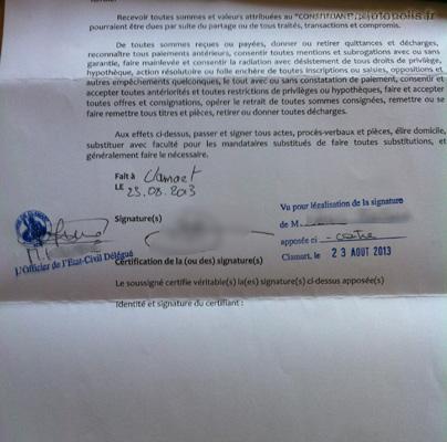 signature du mandataire