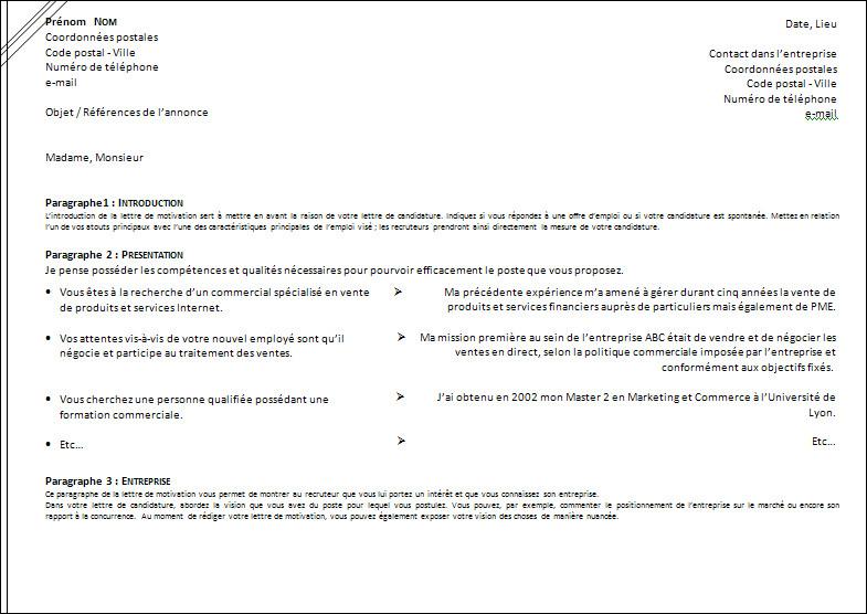 trame de lettre de motivation manuscrite a telecharger