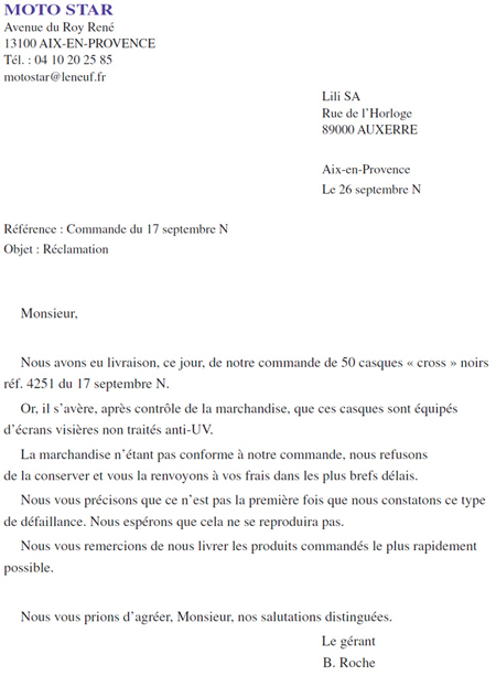 une reclamation lettre