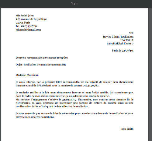 courrier resiliation loi chatel telephonie