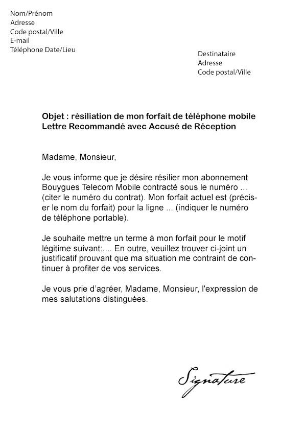 assurance portable bouygues telecom resiliation - Modele de lettre type