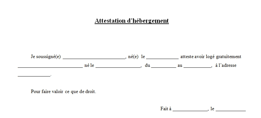 attestation d'hebergement type