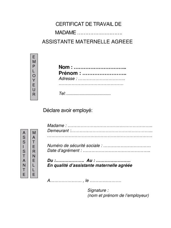 attestation de travail de l'employeur