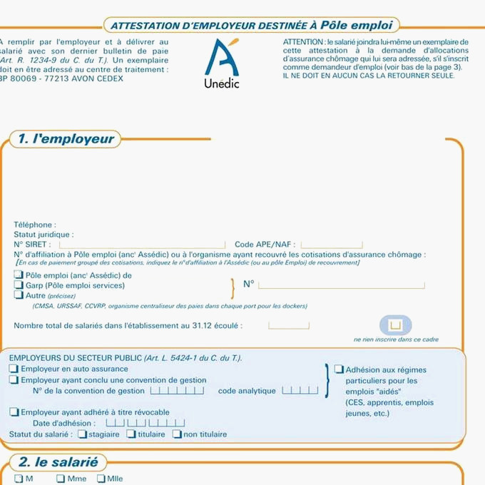 Attestation Pole Emploi Exemple