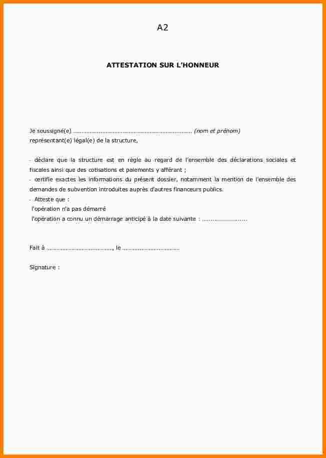 attestation sur l'honneur concubinage modele - Modele de lettre type