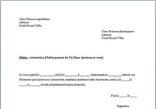 attestation sur l'honneur logement a titre gratuit - Modele de lettre type