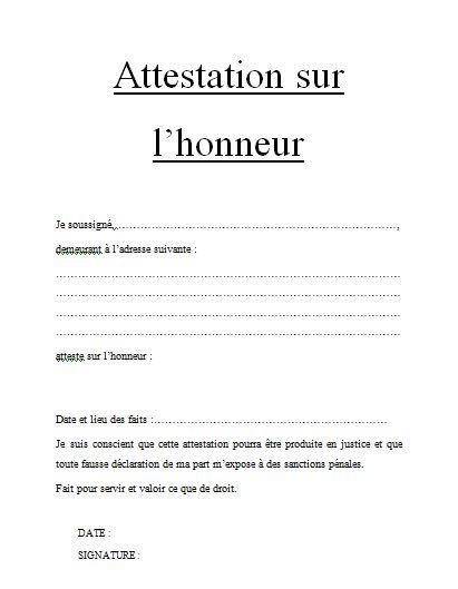 attestation sur l'honneur modele pdf