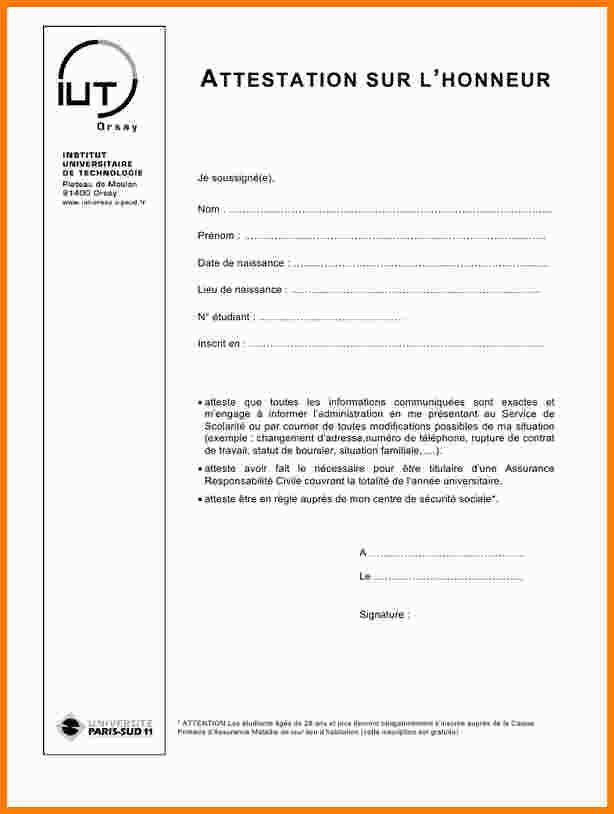 attestation sur l u0026 39 honneur ressources