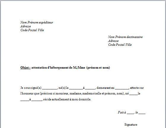 attestation sur l'honneur vierge a imprimer - Modele de lettre type