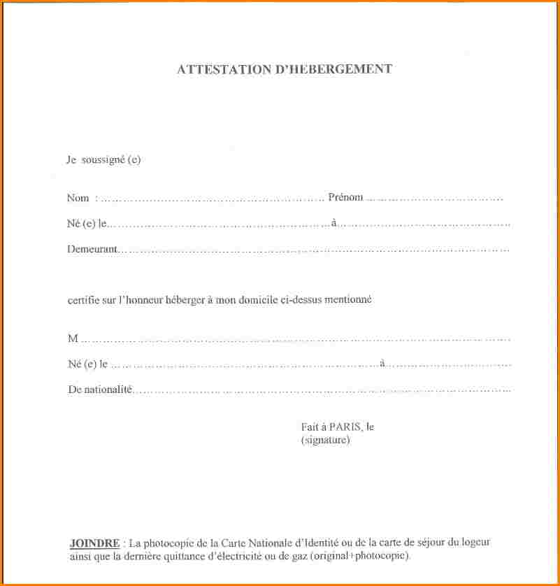 certificat d'hebergement a titre gracieux