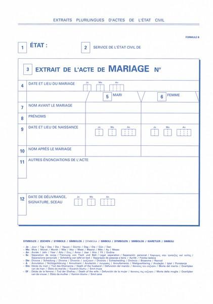 certificat de mariage exemple