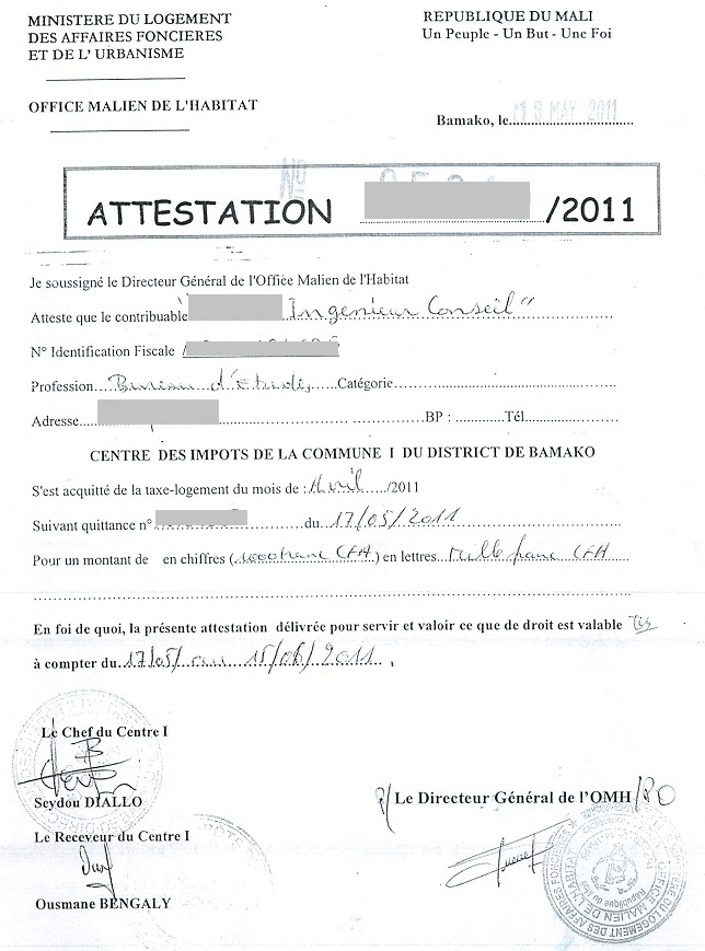 certificat logement - Modele de lettre type