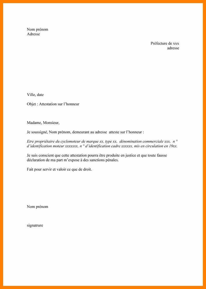 comment ecrire une lettre attestation sur l u0026 39 honneur