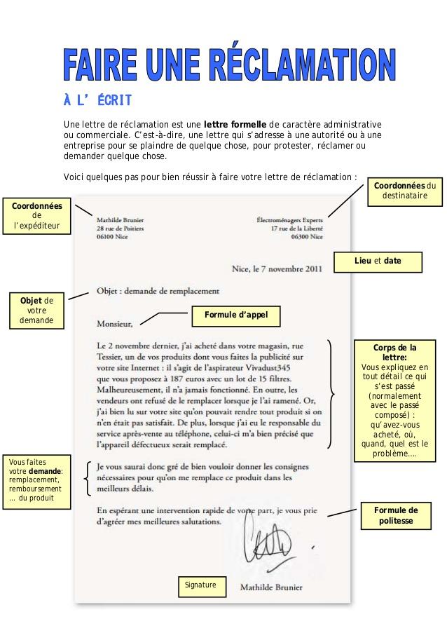 comment faire une lettre de reclamation