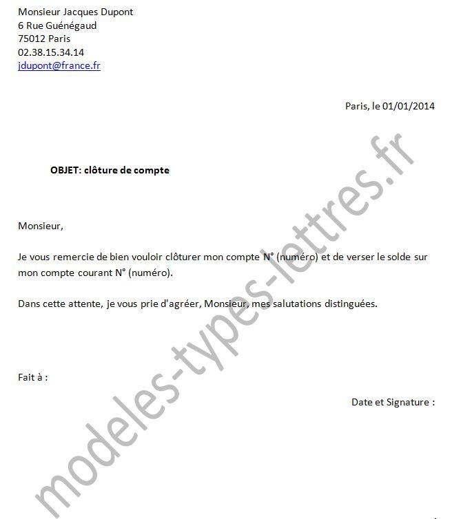 courrier cloture de compte - Modele de lettre type