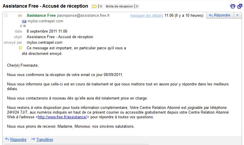 courrier facture
