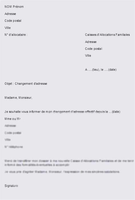 courrier pour un changement d'adresse - Modele de lettre type