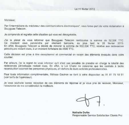courrier resiliation bouygues