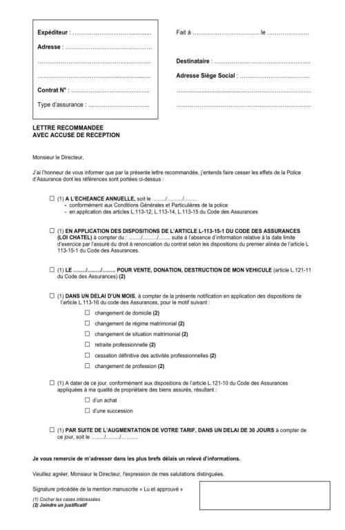 courrier resiliation contrat assurance habitation - Modele de lettre type