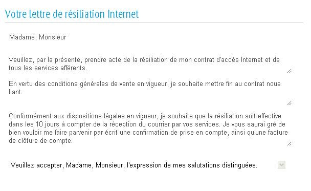 courrier resiliation internet