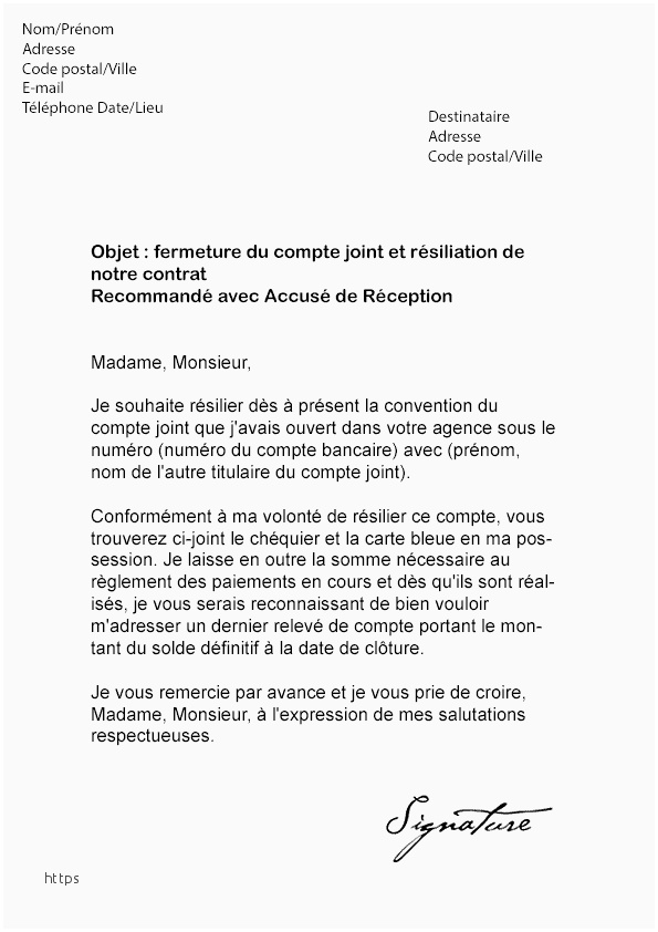 courrier type banque