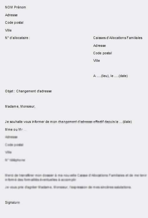 courrier type changement d'adresse