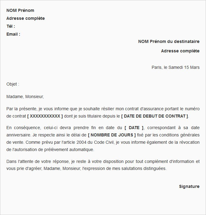 courrier type resiliation mutuelle