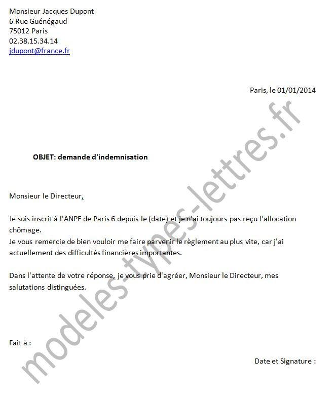 demande d'attestation pole emploi