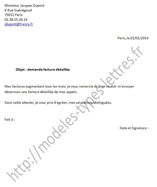 demande ligne telephonique lettre