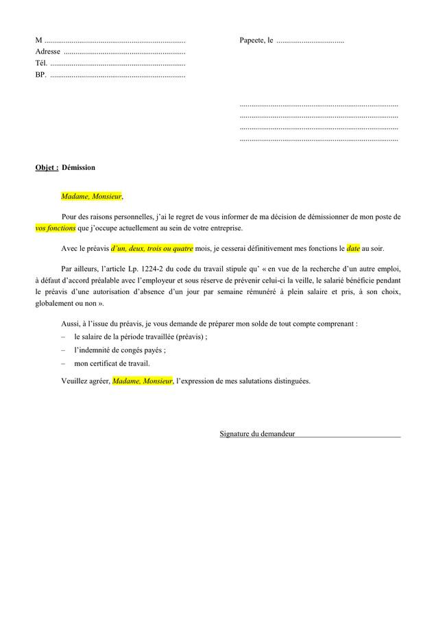 demission pendant conge parental preavis - Modele de ...