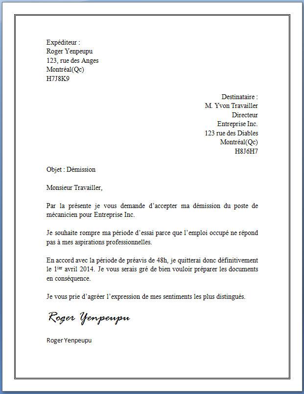 exemple de lettre de demission pendant la periode d'essai