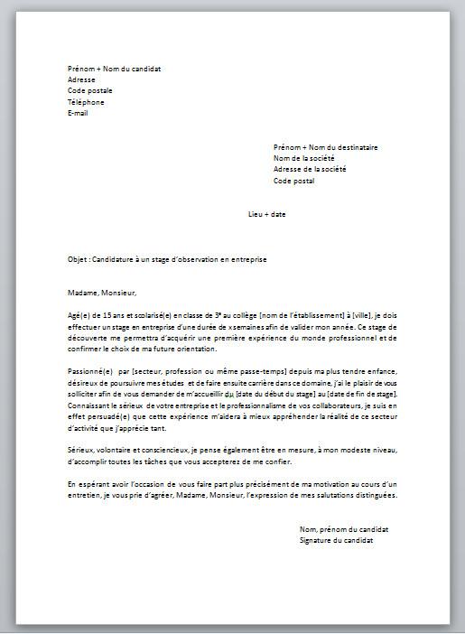 exemple de lettre de motivation pour stage d u0026 39 observation